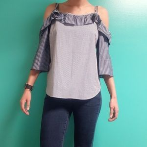 NWT Jane and Delancey Open Shoulder Striped Top